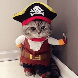 Wholesale Halloween Black Cat Costumes - New Funny Cat Costume Pirate Suit Cat Clothes Corsair Costume Puppy Suit Dressing Up Party Clothes For Cat Fashion Pet Supplies