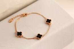 Bracelets vintage bracelets or 14k en Ligne-Trèfle De Mode Vintage Cristal Délicat Pulseira Pulseras Hombre Rose Or Bracelets Femme Bracelets pour Femmes HQ H00009