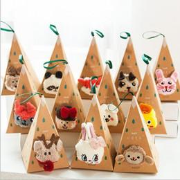calcetines de cachemir para niñas Rebajas Venta caliente Invierno Mujer Calcetines Espesar Coral Cashmere Caja de Regalo de Navidad Chica Lindo 3D Cat Bear Fox Casual Warm Ladies Soft calcetines