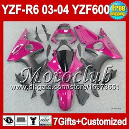 Wholesale Yamaha R6 Fairings Kit Pink - 7gifts+Pink black Body For YAMAHA YZFR6 03 04 YZF-600 YZF-R6 03-04 C9453 YZF600 YZF R6 YZF R 6 2003 2004 YZF 600 NEW Rose black Fairing Kit