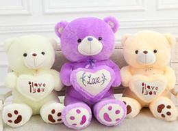 Wholesale 19 Teddy Bear - 50cm 19 inch 19'' Teddy Bear Cute Stuffed Bear Toys heart Teddy Bears Soft Plush Doll one piece birthday gifts cheap