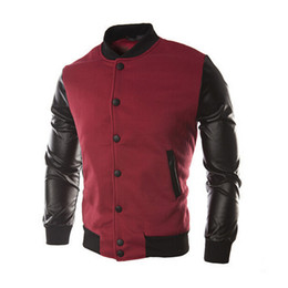Wholesale Leather Men Sweaters Black - Fall-New Men 2015 Sweater PU Leather Collar Sweater Personalized Baseball Stitching Clothes Man Jacket Plus Size M-4XL Wine Red Navy