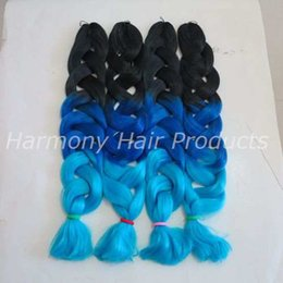 Wholesale Synthetic Remy - Kanekalon Jumbo Braid Hair 82inch 165g Black&Dark Blue&Light Blue Ombre three tone color xpression braiding box Synthetic hair extensions