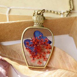 Wholesale Vintage Glass Flower Beads - Red Flowers Royal Blue Butterfly in Bronze Bottle Pendant Necklaces Vintage Long Bronze Round Beads Chains for Costume Birthday Gifts nxl044