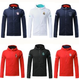 Wholesale Rip Sweater - 17 18 real madrid hoodie 2018 AC milan red jacket with caps ajax 2018 blue hoody tracksuit sweater jogging suit survetement training suit