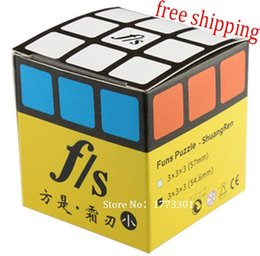 Wholesale Toy Funs - Wholesale-free shipping ! FS Funs little ShuangRen 54.6mm 3x3x3 pure transparent color magic cube , FangShi speed cube , Educational toy