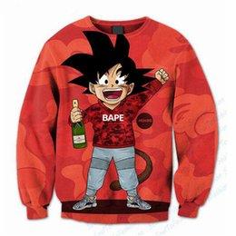 Wholesale Crew Neck Funny Sweatshirts - Funny Boy GOKU Letters Sweatshirt Women Men 90s Anime 3D Print Sweats Jumper Pullovers Hoodie Plus size 5XL