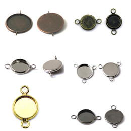 Wholesale Resin Bezels - Beadsnice jewelry connectors round cabochon bezels bracelet component blank trays for cabochon and resin mix style ID 32254