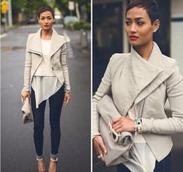Wholesale Leather Down Jacket Women - Basic Jackets 2016 Fashion Long Sleeve Leather Jacket Turn-Down Collor PU Jackets Women Slim Coats Outerwear