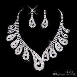 Wholesale New Earrings For Sale - Cheap New 15042 Hot Sale Womens Bridal Wedding Pageant Rhinestone Necklace Earrings Jewelry Sets for Party Bridal Jewelry
