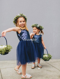 Wholesale Cheap Sparkly Wedding Dresses - Cheap Flower Girl Dresses Sparkly Sequins Navy Blue Tulle Knee Length Jewel 2016 Cute Kids Wedding Party Formal Dress Girls Pageant Dresses