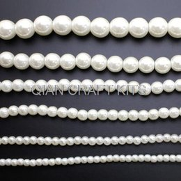 Wholesale White Flapper - 500pcs mixed sizes Vintage Plastic Shiny Ivory or White Pearl Beads, (4mm-16mm) Faux Pearls For Flapper Style Necklace
