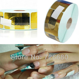 Wholesale French Nail Guides - Free Shipping! Wholesale 100Pcs Professional Nail Art Tool Tips Golden Extension Forms Guide French Acrylic UV Gel 131-0004-1