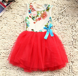 Wholesale Green Ruffle Yarn - 20PCS Fedex UPS Free Ship 2015 New Summer girls tutu bow dresses baby yarn bowknot dresses girls cotton lace ruffle tutu dresses 5color 2-6T