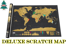 Wholesale Visual Paper - Deluxe Edition Creative Scratch Map With Scratch Off Layer Visual Travel Journal World Map For Educatioin Large Size 82.5X59.4CM