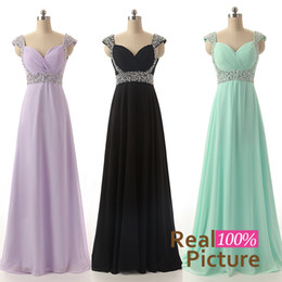Wholesale Image Stock Photos - In Stock Long Bridesmaid Dresses Beads Chiffon Green Red Blue Purple Lilac Real Image 2015 Bridal Party Evening Gowns Prom Cheap Real Image