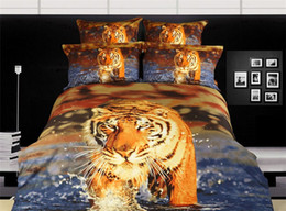 Wholesale 3d Comforters Sets - Wholesale-2015 tiger animal printing 3D bedding cotton comforters cover king queen home textile bed in a bag quilt duvet covers sets 2663
