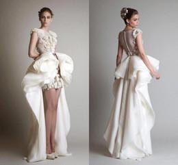 Wholesale Organza Skirt Dress - Krikor Jabotian 2016 Organza Sheath High Low Wedding Dresses Gorgeous Juliet Appliques Lace Bridal Gowns Ruched Formal Dress Cap Sleeves
