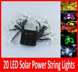 Wholesale Led Christmas Lights Butterfly String - Solar Power 20 LED Outdoor String Butterfly Solar LED string lights Garden rode building Xmas Decoration.