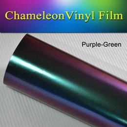 Wholesale Green Chameleon Carbon Fiber Wrap - 1.52x30m(5x98ft) Purple-Green Removable satin chameleon vinyl Wrap Decal Film car wrap stretch film air bubble free