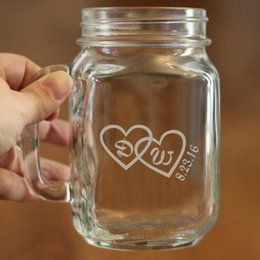Wholesale Custom Printed Glasses - Wholesale- Exquisite Event and Party Gift Fashion Design Mason Cup Custom Glass Drinking Bottle Printing Initials and Date in Hearts