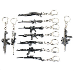 Wholesale Mens Guns - 10 Styles Simulation Weapon Model Keychain Gun Key Chain Car Keyring Cool Mens Key Cover Jewelry