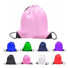 Wholesale Wholesale Gym Drawstring Bags - New Solid color Drawstring bag Polyester Candy colors bag kids clothes shoes Backpacks Sport Gym bags C3032