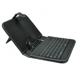 Wholesale Flip Usb - Black PU Leather General USB Keyboard with Faux Leather Cover Stand Flip Case 7'' Inch Andorid Tablet PC Accessories Mid Free Stylus Pen