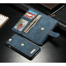 Wholesale Hanging Wallets - For iPhone 8 Mobile Phone Shell With Hanging Hook Cecond Layer Leather Case Wallet with Card Slots Case For iPhone 6S Plus