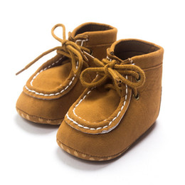 Wholesale Wholesale Fashion Korean Sneakers - 2016 Korean Fashion Boys Girls Slip Shoes Lace-up Kakhi Toddler Sneakers With High-top And Soft Bottom Wholesale Baby Shoes KS81205-92