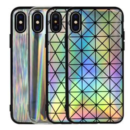 Wholesale Rainbow Iphone Covers - For iPhone X Laser Rainbow Shiny Case Soft TPU Sparking Bling Flexible Case Cover For iPhone 8 7 6 Plus