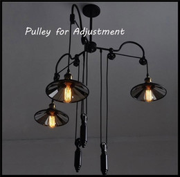 Wholesale Head Pulley - AC 110V 220V 230V 240V 3 Head Vintage Iron Industrial Pulley chandelier Lights Adjustable Wire Lamp Retractable Bar Mirror Lighting