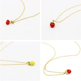 Wholesale Strawberry Necklace Charms - Summer Style Fruits Necklaces for women Golden chokers Necklaces New Fashion Apples Strawberry Cherry Pineapple pendants Necklaces Jewelry