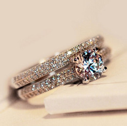 Wholesale Silver Wedding Ring Bridal Sets - Size4-10 Amazing Victoria Weick 925 sterling silver filled White topaz Ziconia Diamonique Wedding Engagement Bridal Band Ring set GIFT