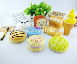 Wholesale Bread Toast Squishy Charm - Wholesale-9PCS 10cm Jumbo Squishy Sweet Roll Panda Puffs Buns Donut Toast Charms Bread Scented Cell Phone Straps Toy