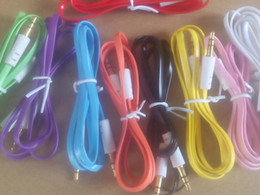 Плоский кабель для мобильного телефона онлайн-3.5 мм стерео аудио AUX кабель плоский Noodel провода шнуры Джек мужчина к мужчине М 1 м 3ft для мобильного телефона 200 шт./лот