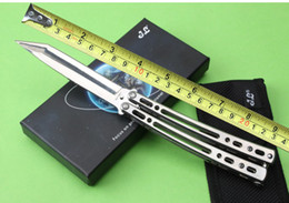 Wholesale Point Surface - 201512 JL-07 butterfly knife BM balisong 8Cr13Mo 55HRC mirror surface steel handle Tanto point BM folding fan knife B659J