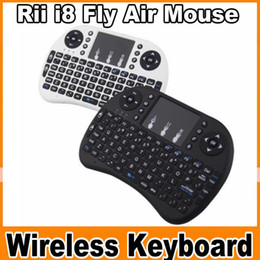 Wholesale Wireless Keypads - Rii i8 Remote Fly Air Mouse mini Keyboard Combo Wireless 2.4G Touchpad Keypad For MXQ MXIII MX3 M8 CS918 M8S Bluetooth TV BOX OM-CC3