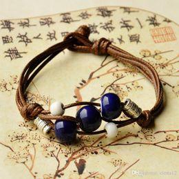 Wholesale Cheap Bead Sliders - Ceramic Bracelet handmade ceramic beads braided rope bracelet vs cheap charm bracelets silver friendship bracelets 2015 hot 160108