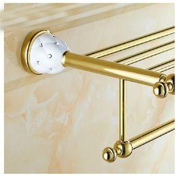 Toalha dourada on-line-Atacado E Varejo de Luxo Ouro Montado Na Parede Do Banheiro Prateleira Toalheiro Titular Com Toalha Bar Cabides Ganchos Acabamento de Ouro