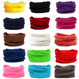Wholesale Face Mask Bandana Neck - 2016 Solid Colors Cycling Face Mask Racing Tube Scarf Bandana Head Neck Gaiter Warmer Snood Bicycle Riding Plain Headwear Beanie