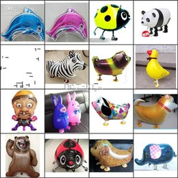Wholesale Large Inflatable Animals - Large 18inch Walking animal balloons walking pet balloons Aluminum Hybrid Models inflatable animal foil balloon Children Party Toys Gifts