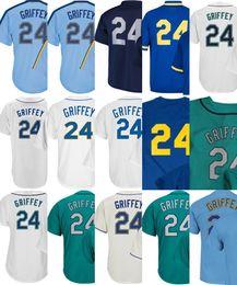Wholesale Black Shorts Ladies - 2017 Mens Lady Kid Toddler Seattle 24 Ken Griffey Jr Jerseys Cream Green Blue Navy Blue White Cooperstown Thrownback Cheap Baseball Jersey