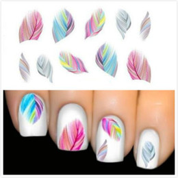 Wholesale Tip Nails Decals - Women Beauty Feather Nail Art Water Transfer Nail Art Stickers Tips Feather Decals