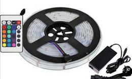 2019 smd led rgb chip 5m SMD 5050 300 Tiras de luces LED Chips RGB Impermeable IP67 12V 72W Iluminación de tira flexible 24 teclas Control remoto 6A Fuente de alimentación MOQ10 rebajas smd led rgb chip