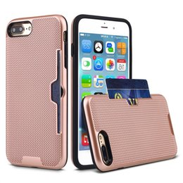 Wholesale Net Hole Iphone - Net Hole Style Case For iPhone 7 Plus Soft TPU+Hard PC Luxury Back Cover for iPhone X Card Slot Shell