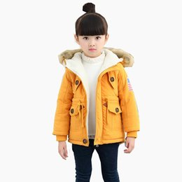 Wholesale Long Winter Jackets For Kids - New 2018 Kids Girls Boys Winter Child Thick Warm Hooded Wadded Jacket Outerwear For Girls Boys Long Velvet Fleece Cotton-Padded Coats 2-9Y