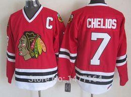 stile bianco punto della camicia Sconti 2017 New # 7 Chris Chelios Jersey Red Home bianco, nero 75th Vintage Cheap Stitched Mens Chicago Blackhawks Throwback Hockey Maglie Shirt