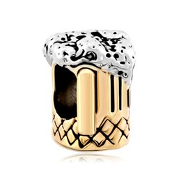 Wholesale Beer Charm Silver - fashion Golden beer mug in Gold and rhodium Plating Bead European Charm Fit for Pandora Bracelet