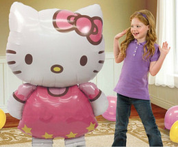 Wholesale Animals Birthday Parties - 10pcs Oversized Hello Kitty Cat foil balloons cartoon birthday decoration wedding party inflatable air balloons Classic toys